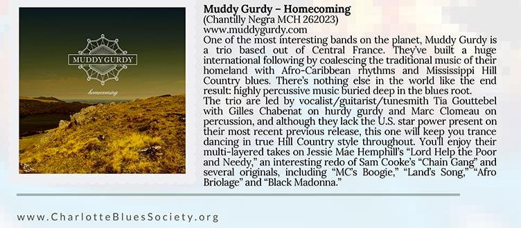 chronique Homecoming charlotte blues society huddy gurdy